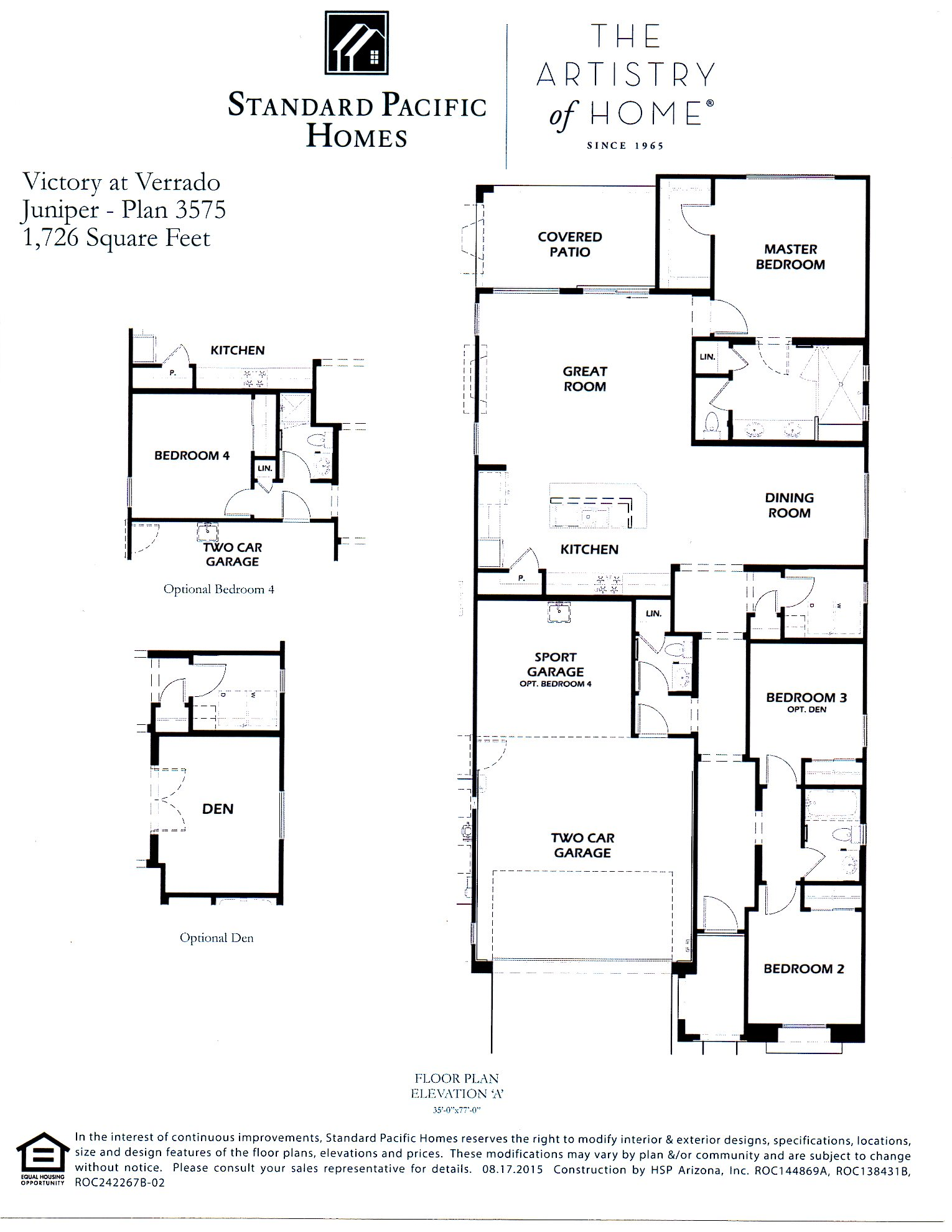 Standard pacific homes floor plans for Standard home plans