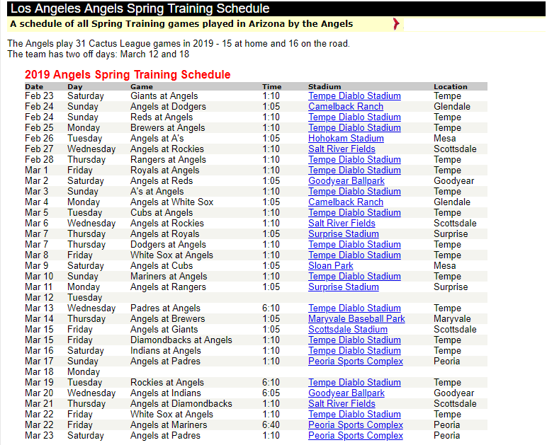 ANGELS SCHEDULE