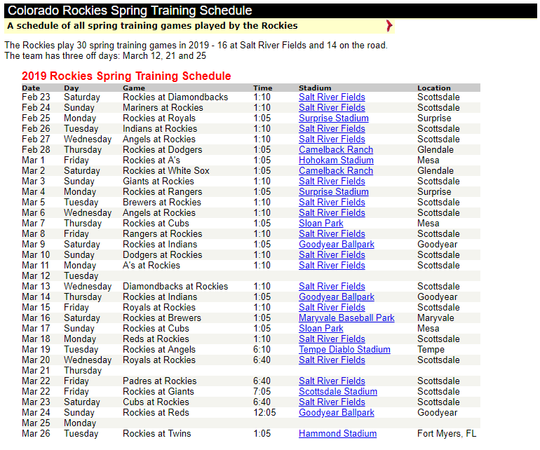 ROCKIES SCHEDULE