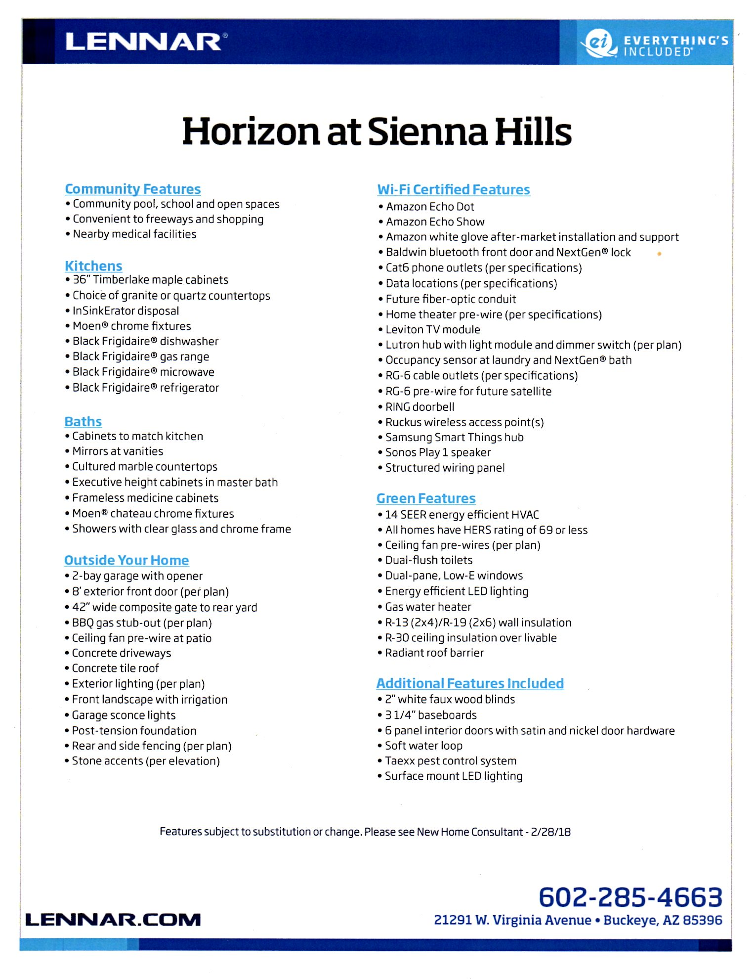 STANDARD FEATURES INCLUDED BY LENNAR at HORIZON