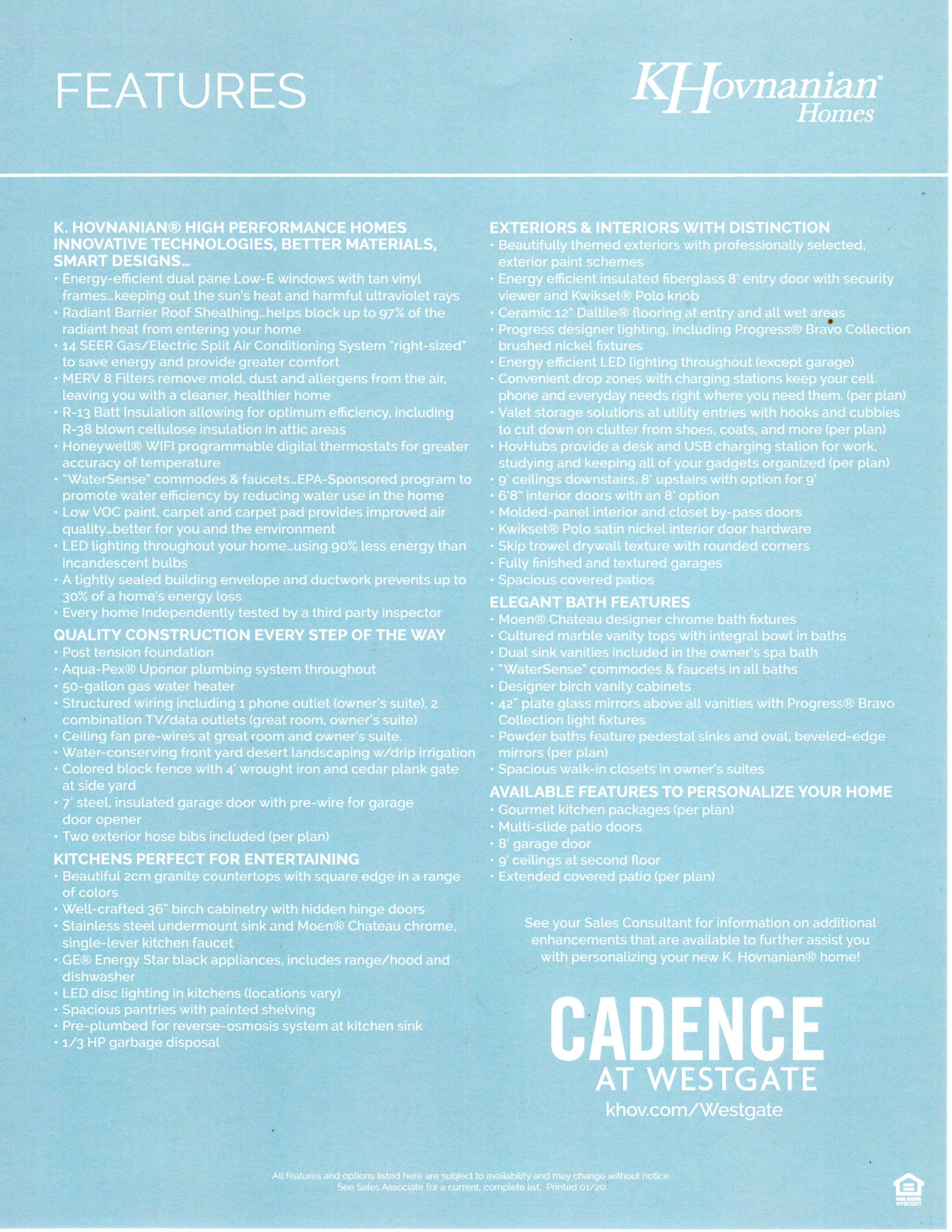 CADENCE - Standard Included Features