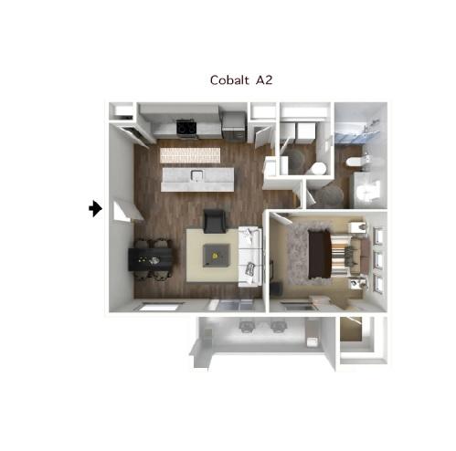COBALT - ONE BEDROOM FLOORPLAN
