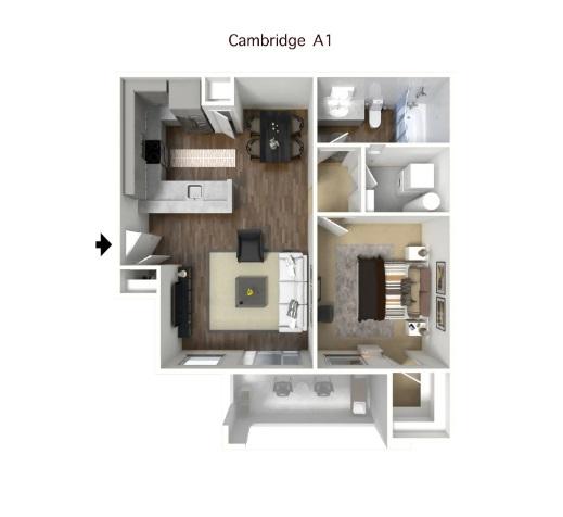 CAMBRIDGE - ONE BEDROOM FLOORPLAN
