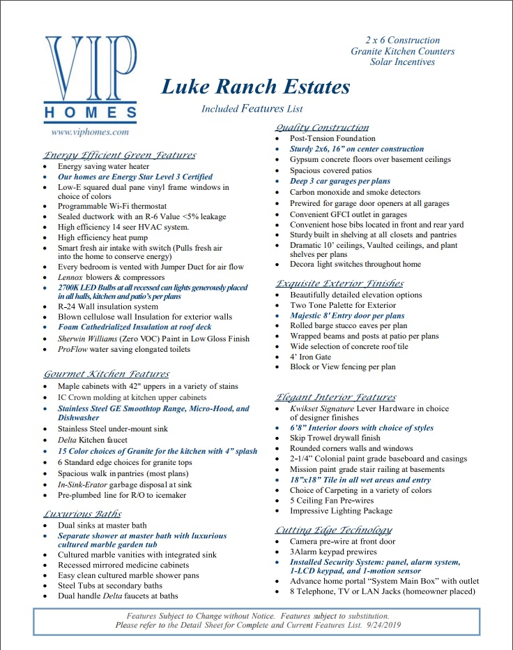 LUKE RANCH ESTATES - Standard Included Features